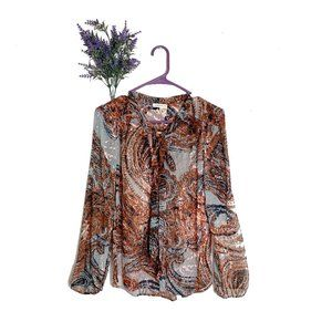 Anthropologie Meadow Rue Burnished Paisley Blouse